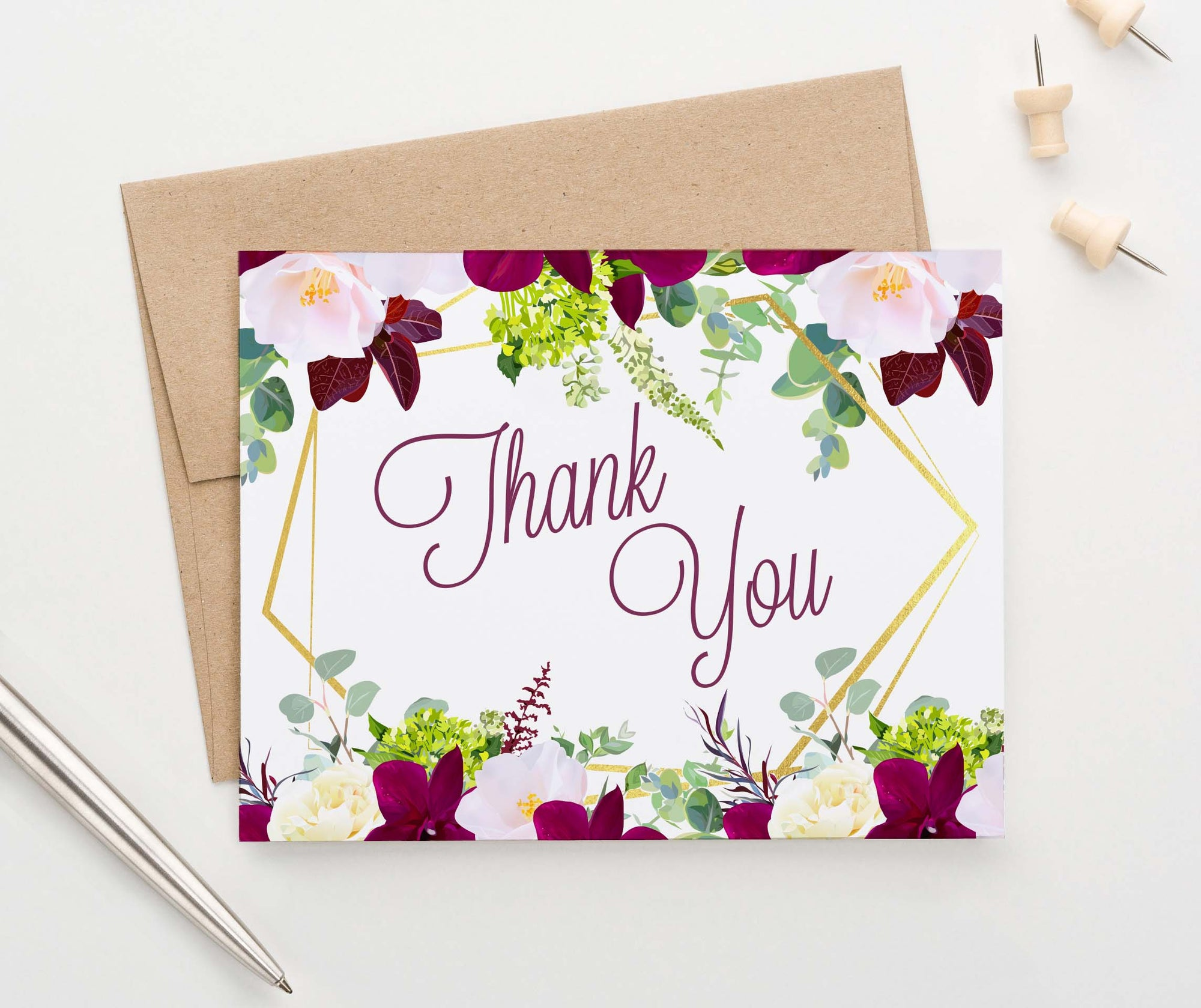 TY007 burgundy floral folded thank you notes for women gold wedding elegant