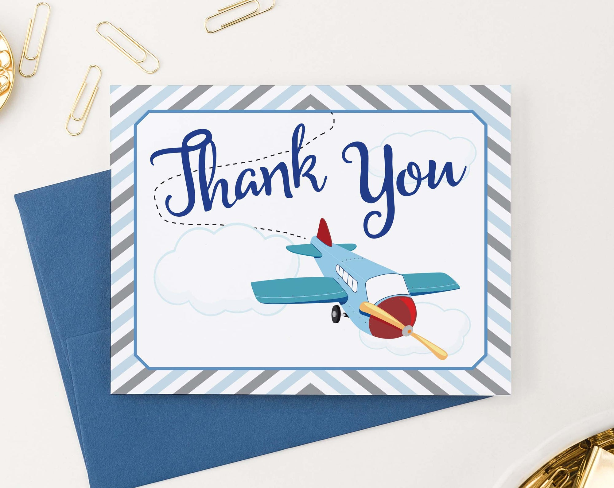 TY008 cute airplane thank you cards for baby shower birthday kids folded