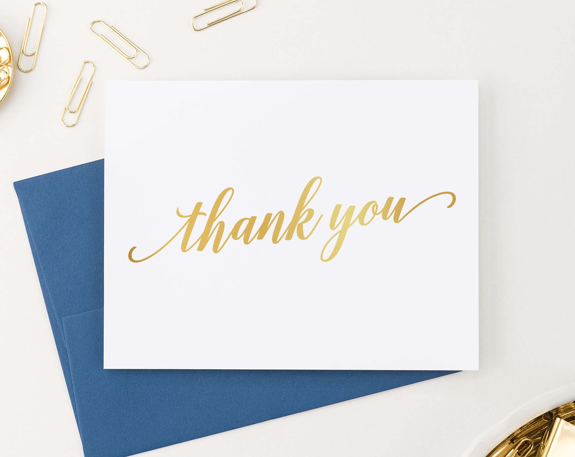 TY009 elegant gold script thank you notes for adults simple folded