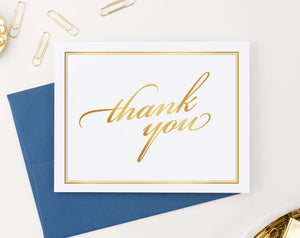TY010 gold gradient folded thank you notes with border women elegant thankyou