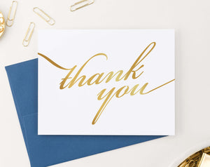 TY011 simple gold thank you cards folded elegant women