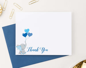 TY012 blue elephant thank you cards for baby shower balloons kids flat