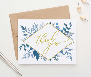 TY013 blue greenery folded thank you notes wedding women gold geometric