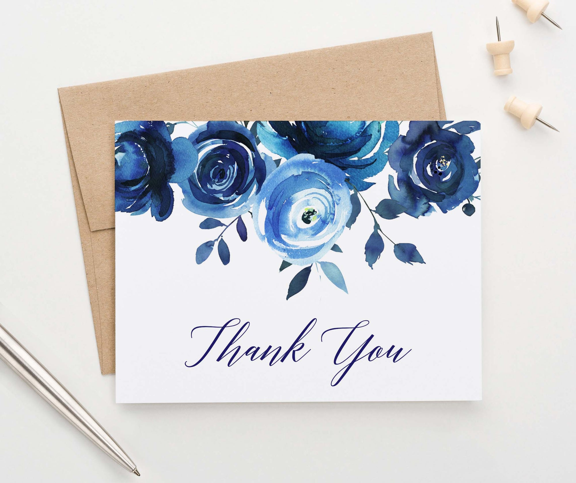 TY014 blue florals thank you cards for women roses script folded