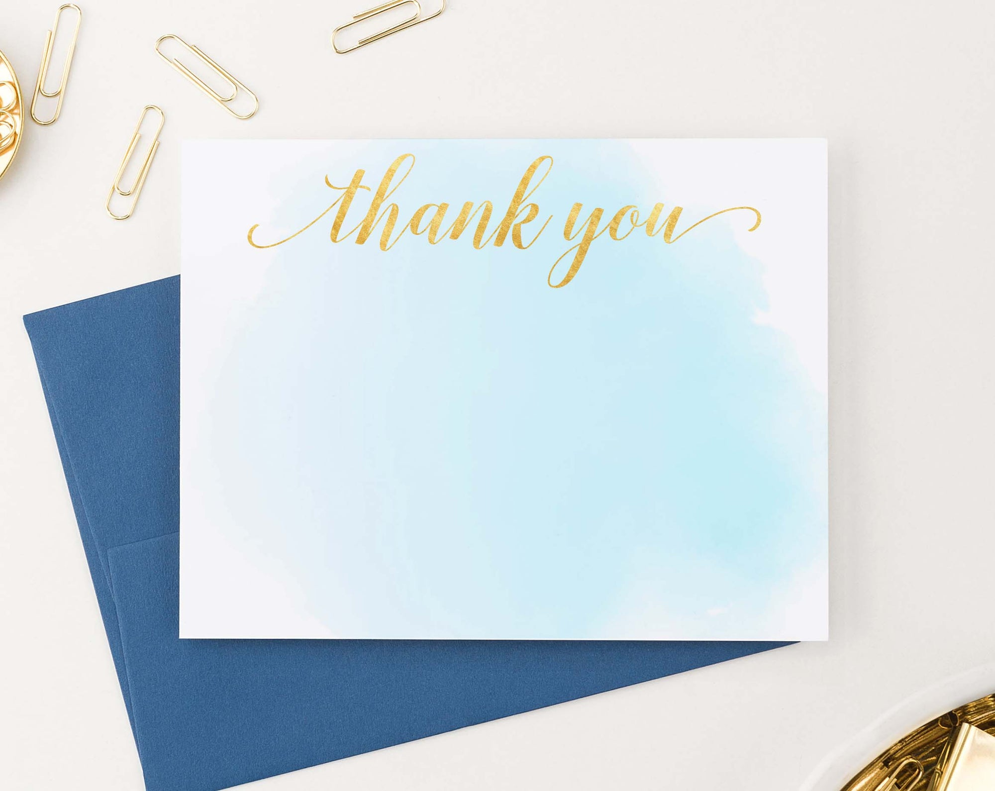 TY015 simple blue watercolor flat thank you notes gold script
