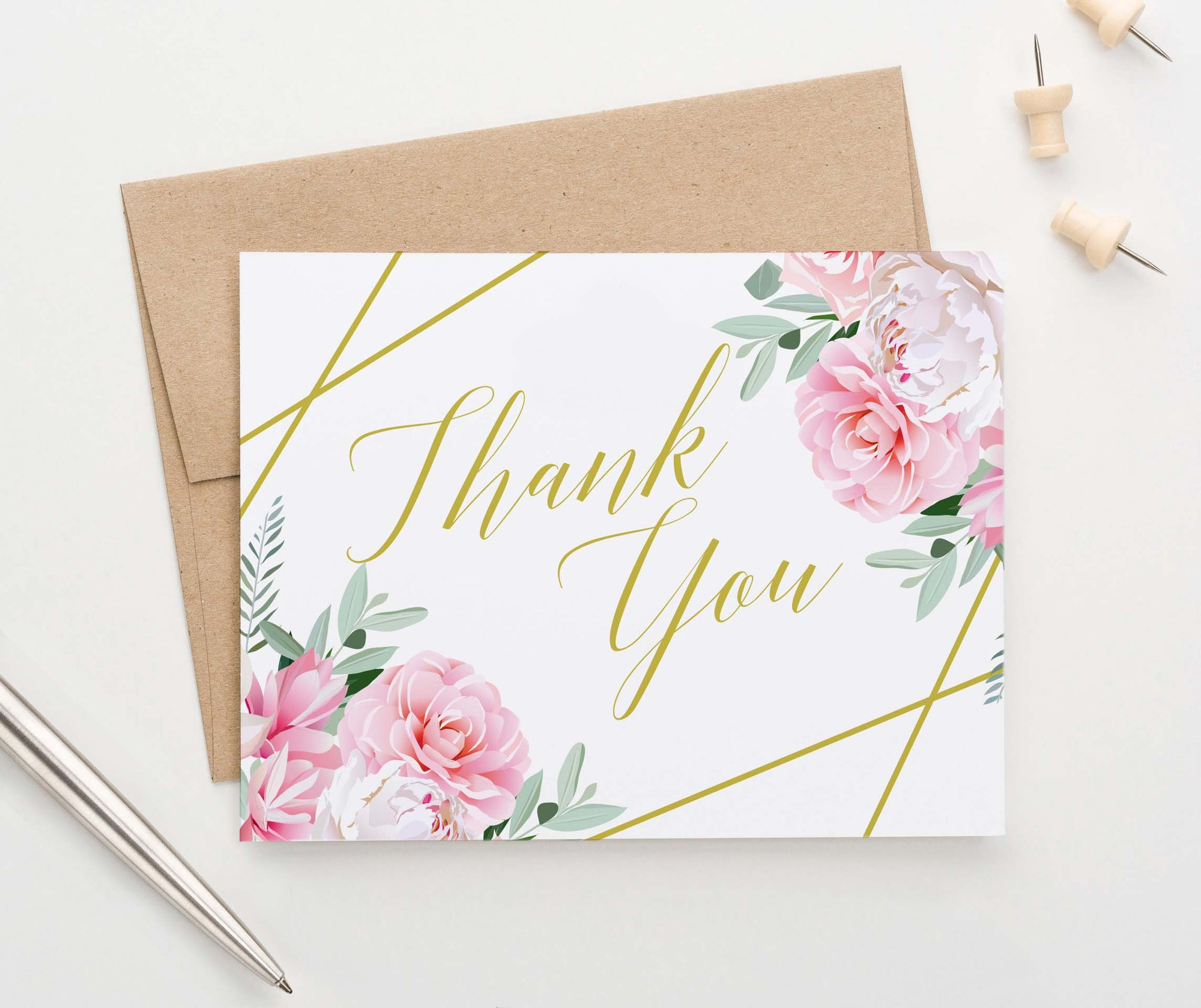 TY016 pink floral thank you notes for wedding gold geometric baby shower
