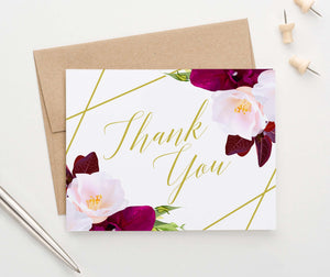TY017 pink and burgundy floral folded thank you notes gold geometric lines