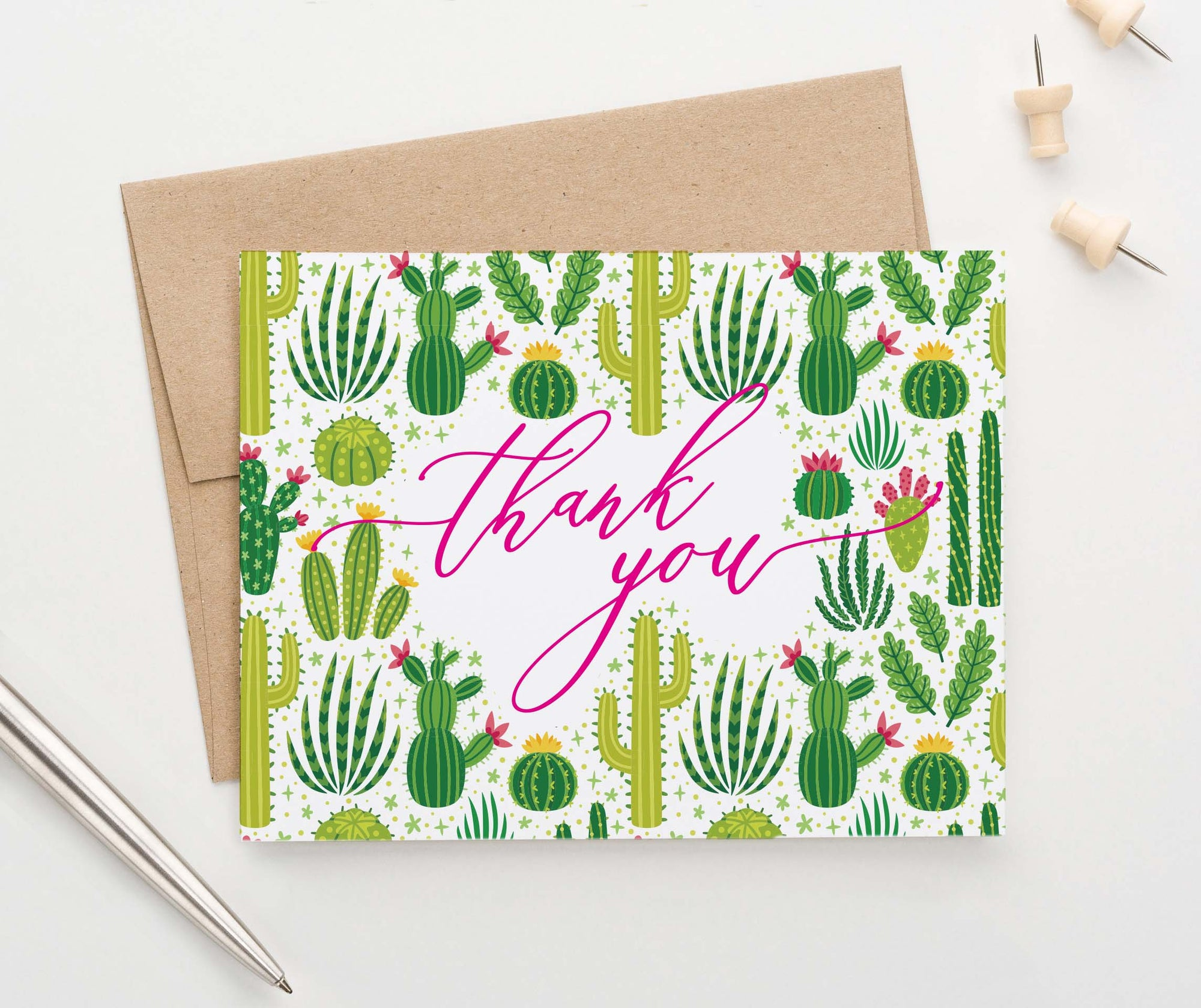 TY018 folded cactus pink thank you cards succulents script