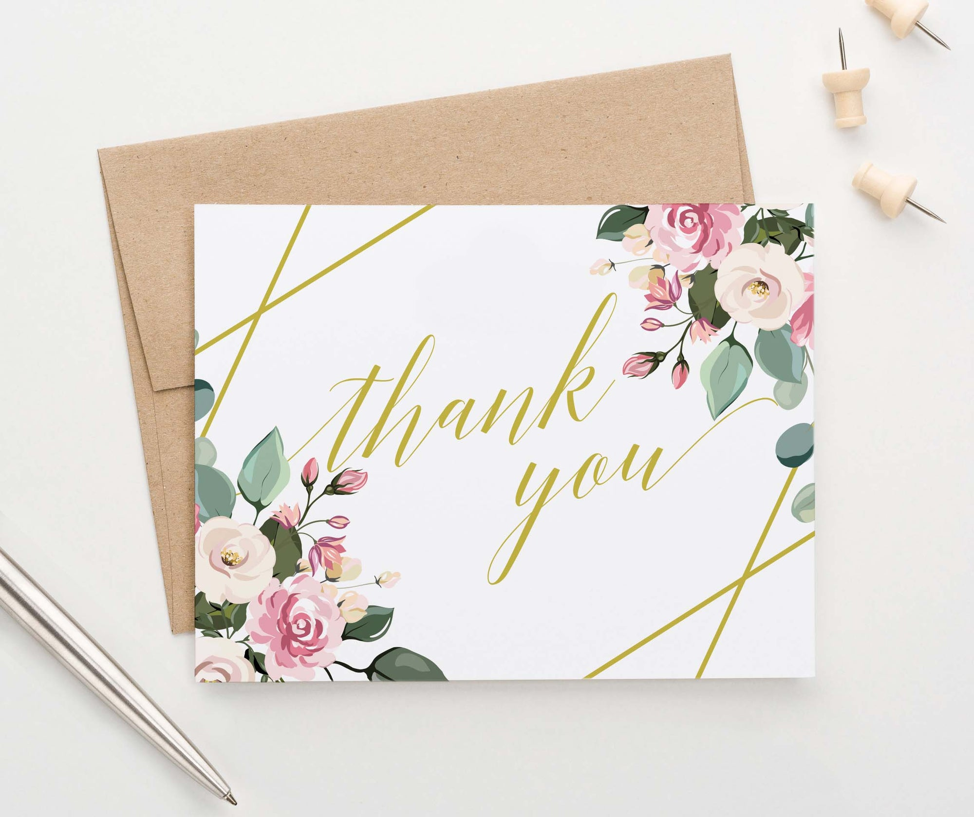 TY020 floral gold geometric thank you notes for baby shower elegant script