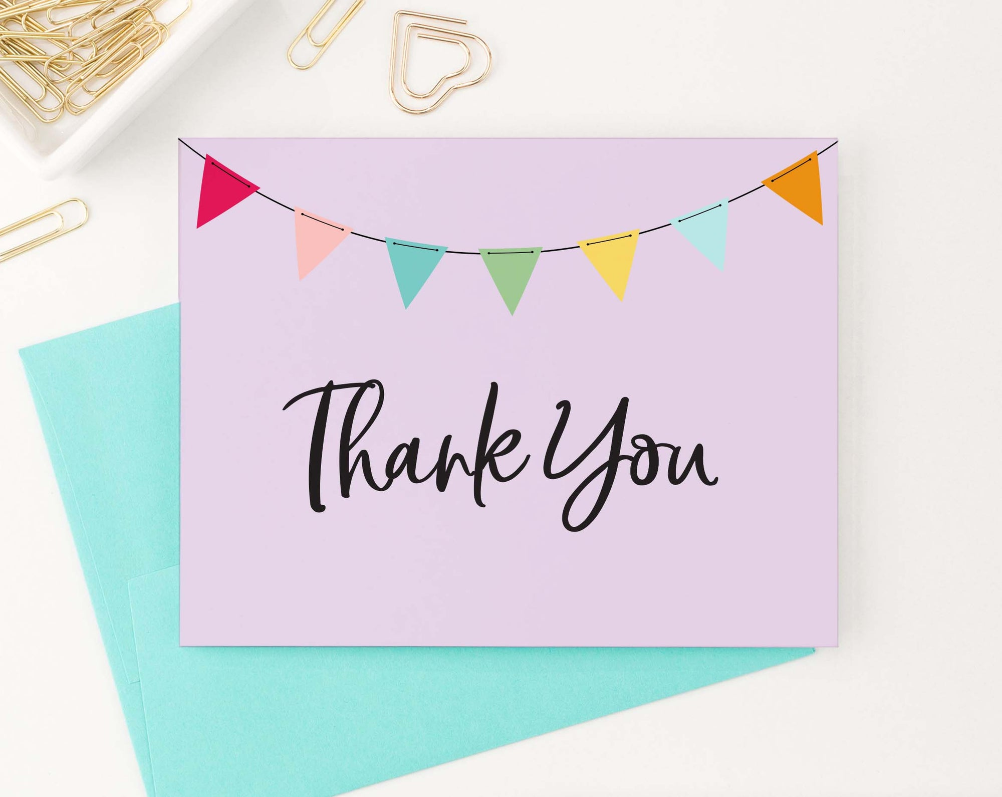 TY021 simple purple thank you notes folded flag banner kids
