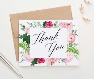 Elegant Floral Border Thank You Cards for Women