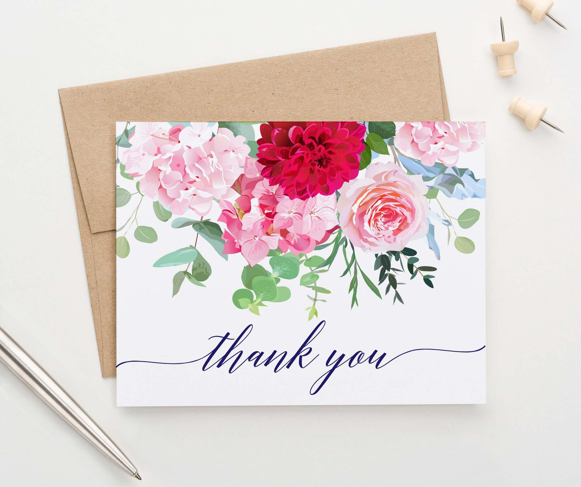 TY023 elegant floral thank you cards for wedding women script thankyou