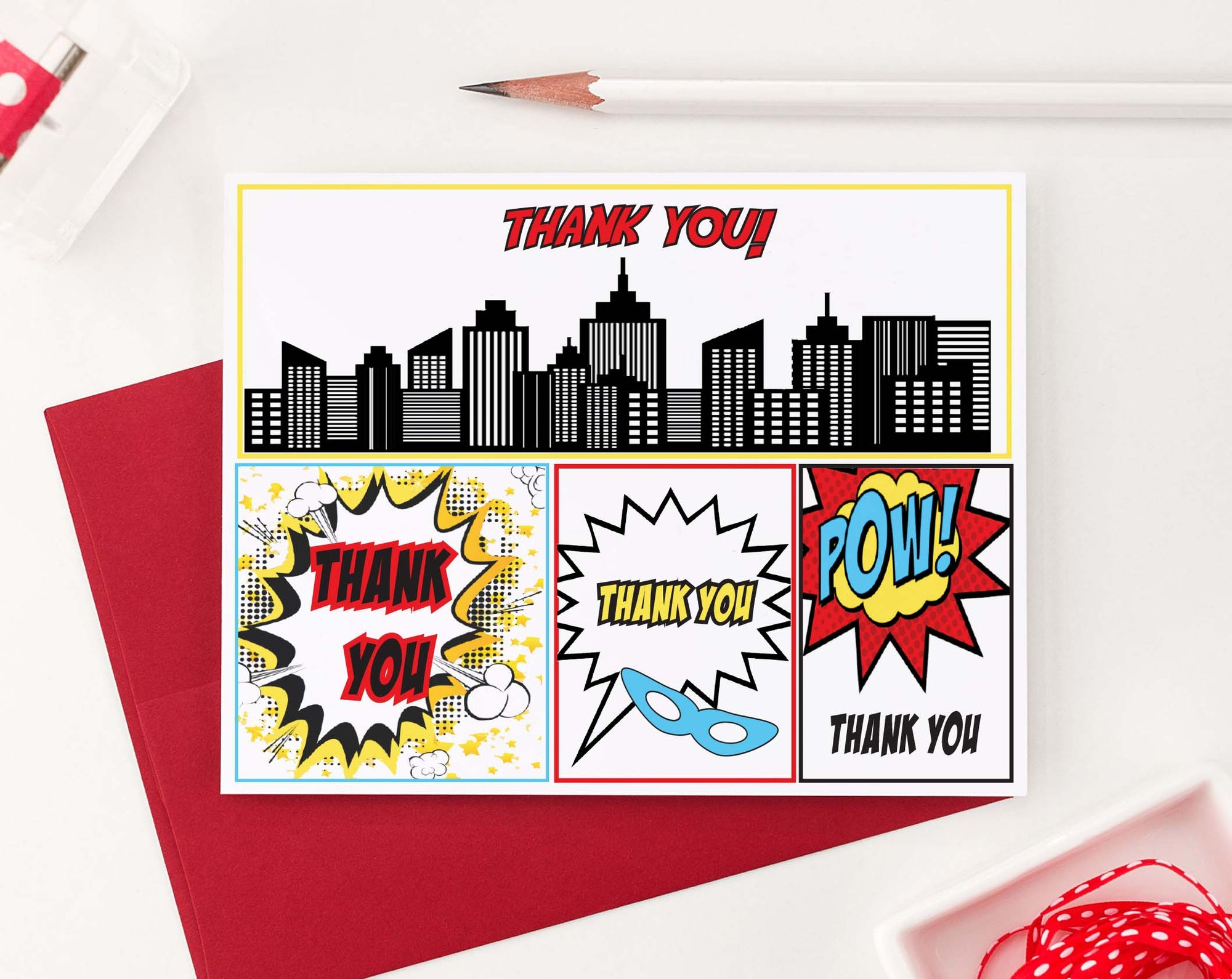 TY024 comic thank you cards for birthday kids folded thankyou