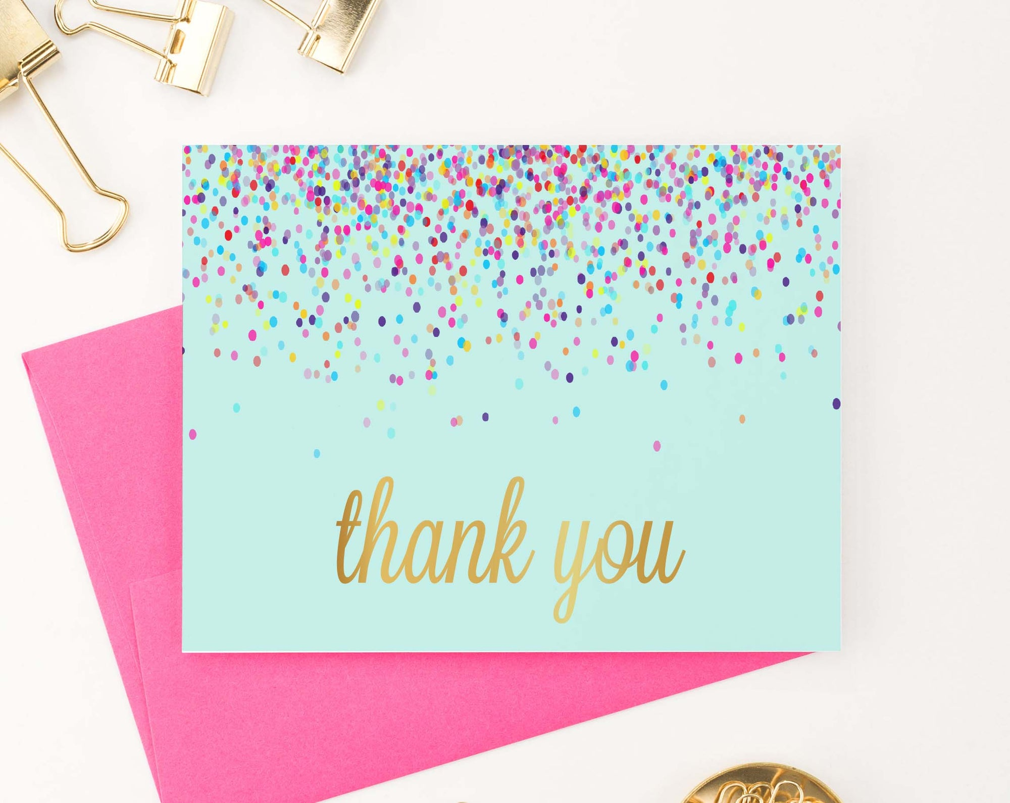 Cute Colorful Confetti Thank You Notes for Kids
