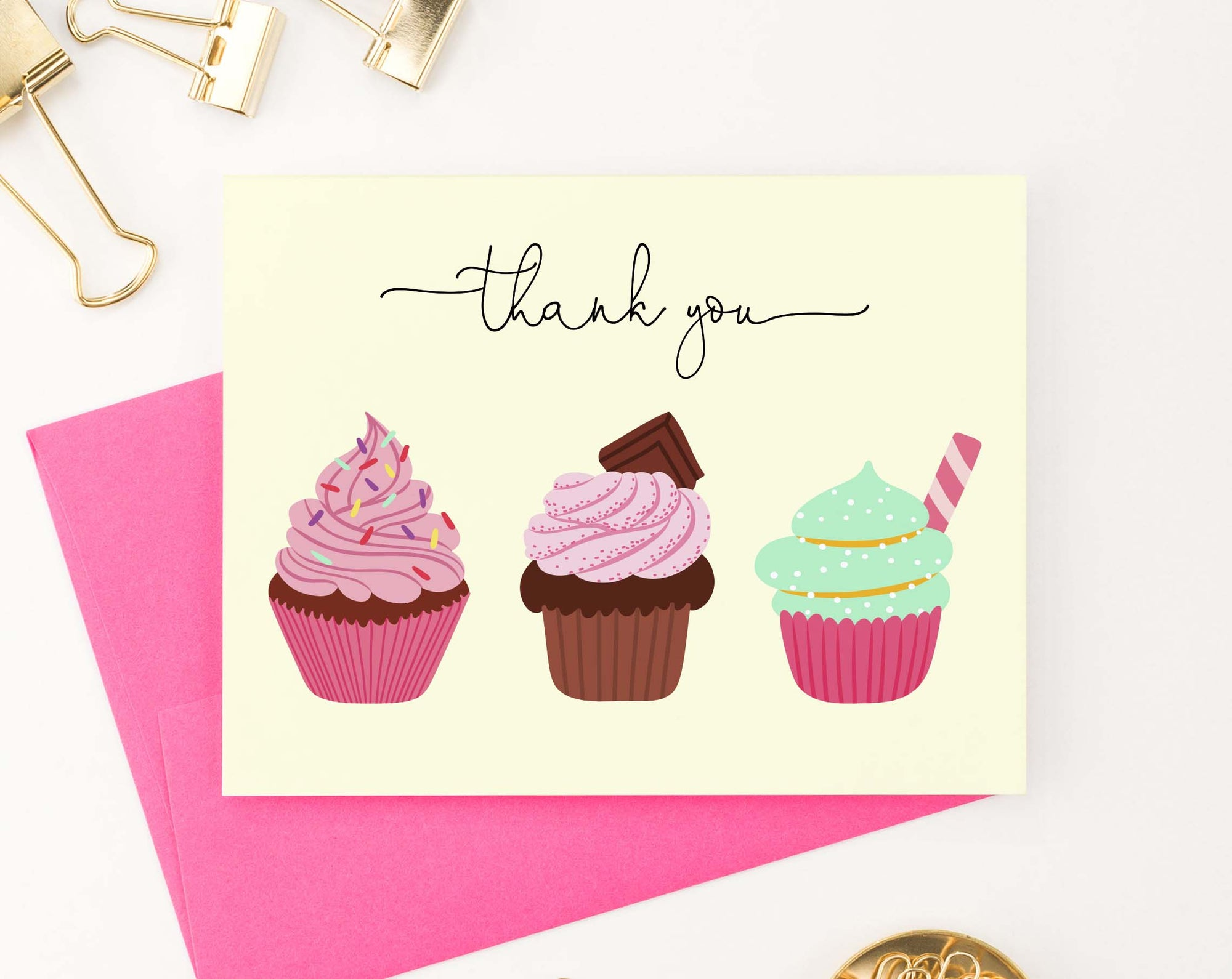 TY026 cupcake folded thank you cards for birthday sweet elegant cute