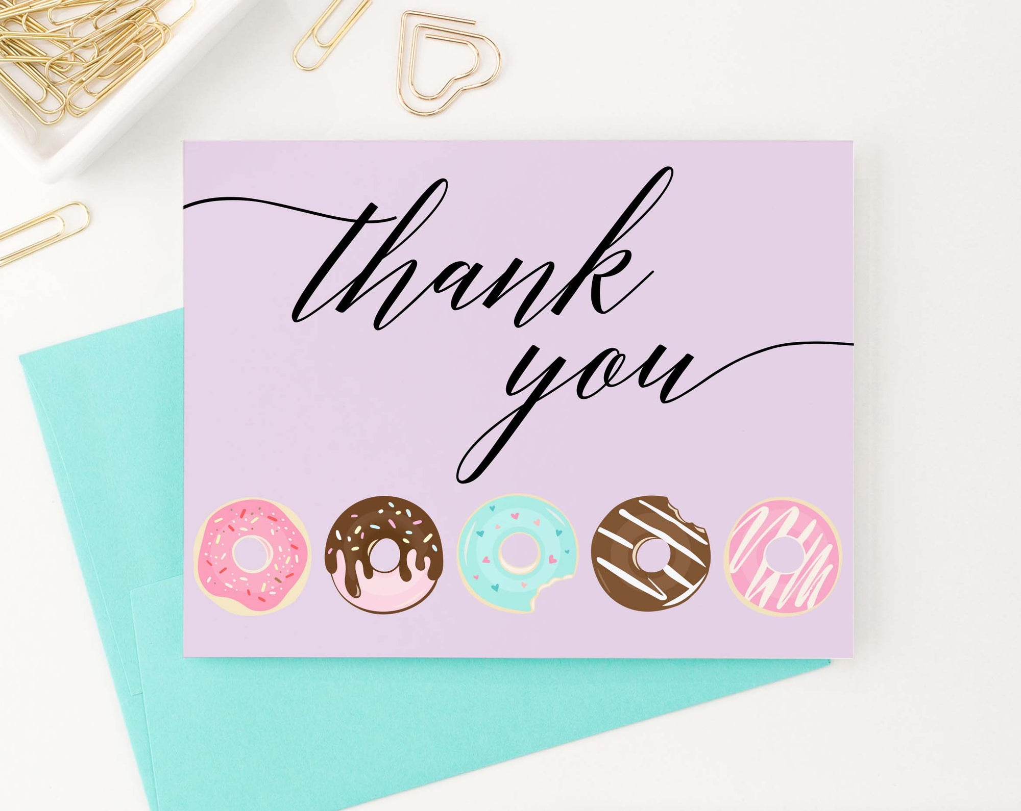 TY027 cute donuts thank you cards for kids script font donut purple