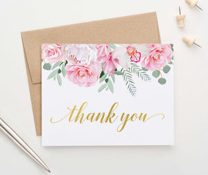 TY030 pink and white floral thank you cards folded elegant wedding