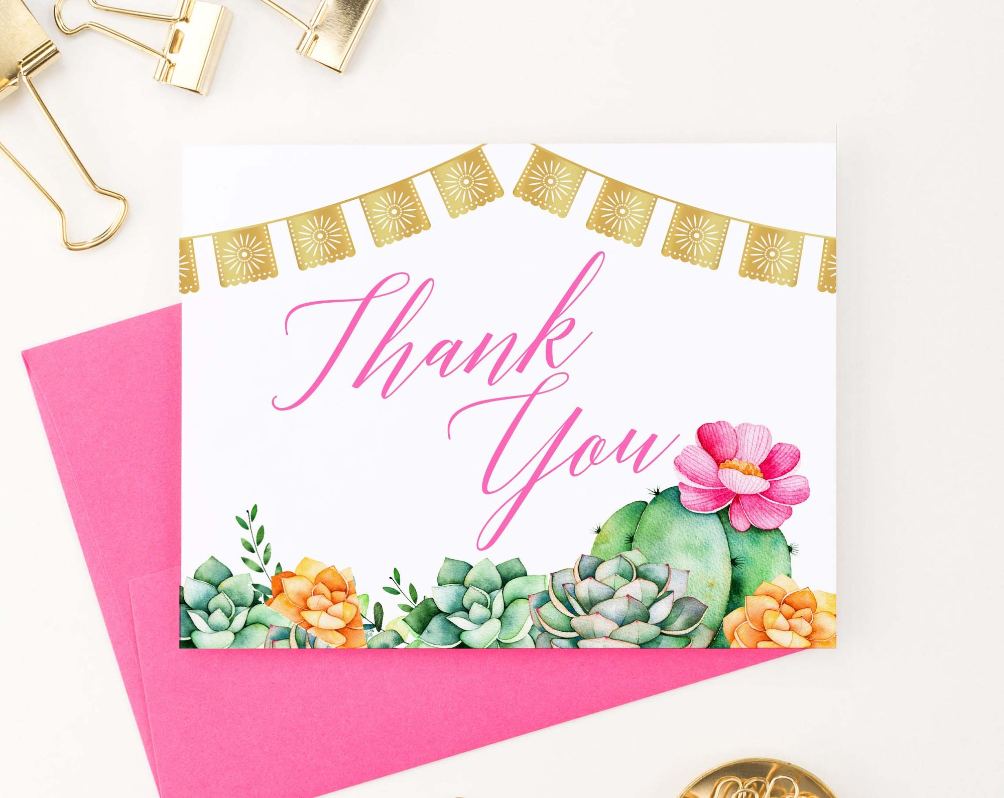 TY031 fiesta cactus thank you notes for bridal shower wedding elegant women