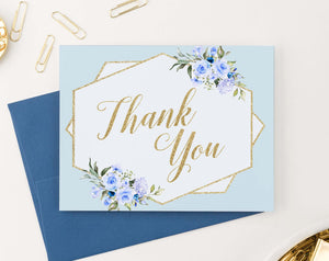 TY032 blue elegant floral thank you notes for baby shower gold script