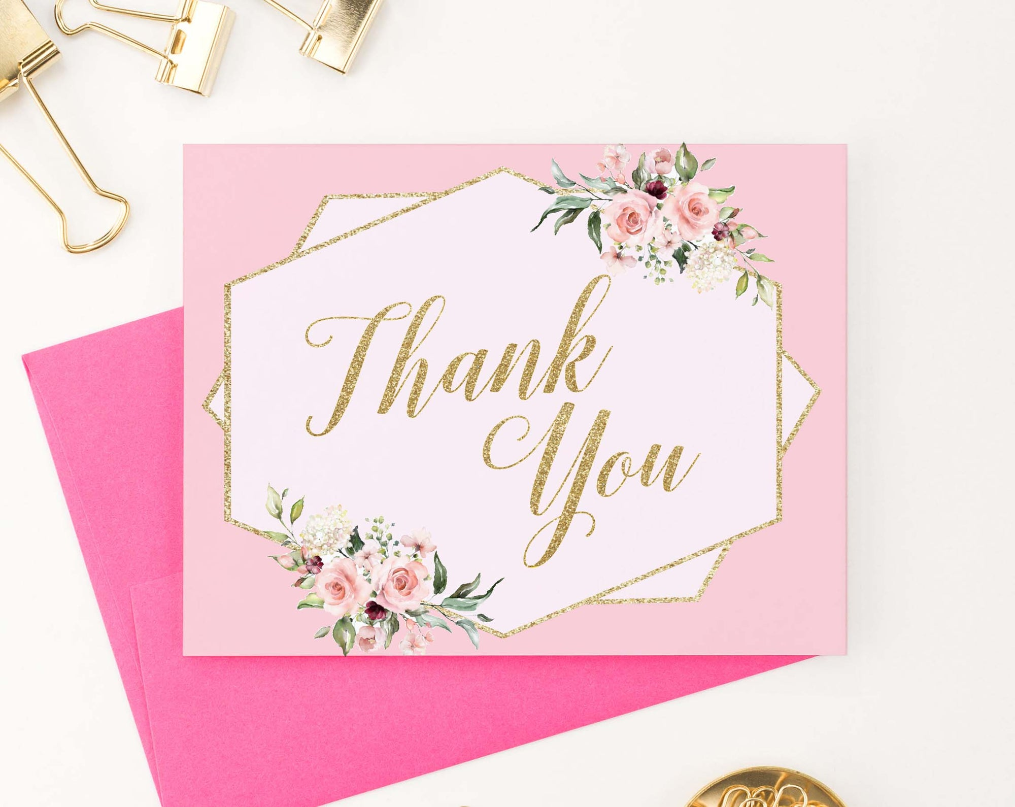 TY033 pink elegant floral folded thank you cards for baby shower gold script