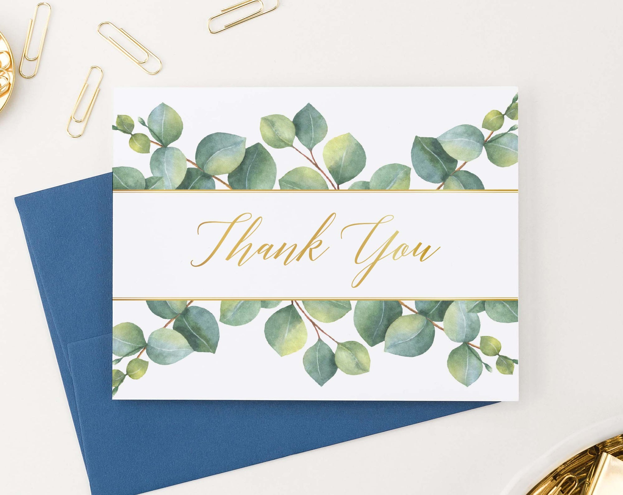 TY035 eucalyptus thank you notes folded greenery gold women