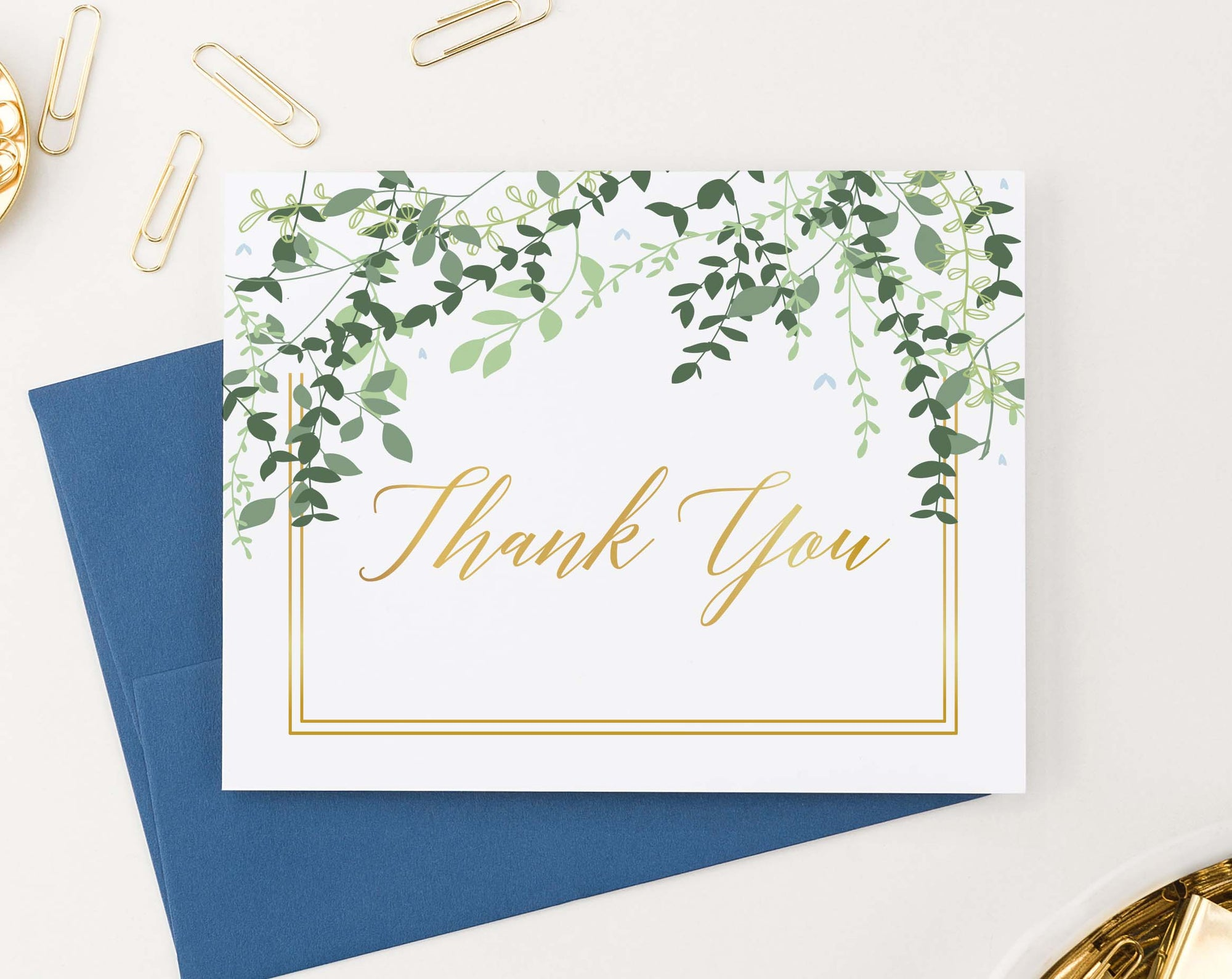 TY036 elegant greenery folded thank you cards for wedding gold border women