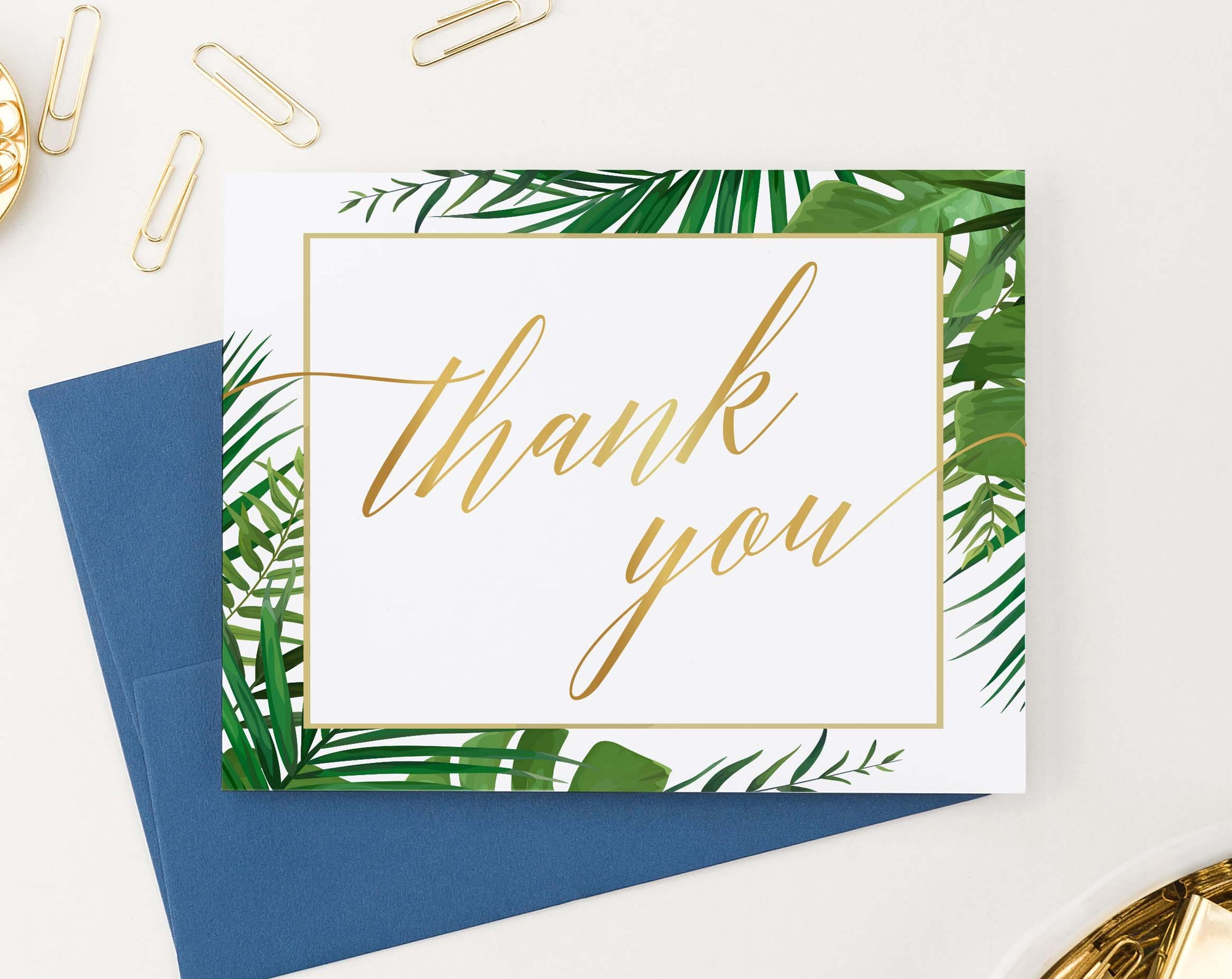 Palm Tree Greenery Border Thank You Cards Folded
