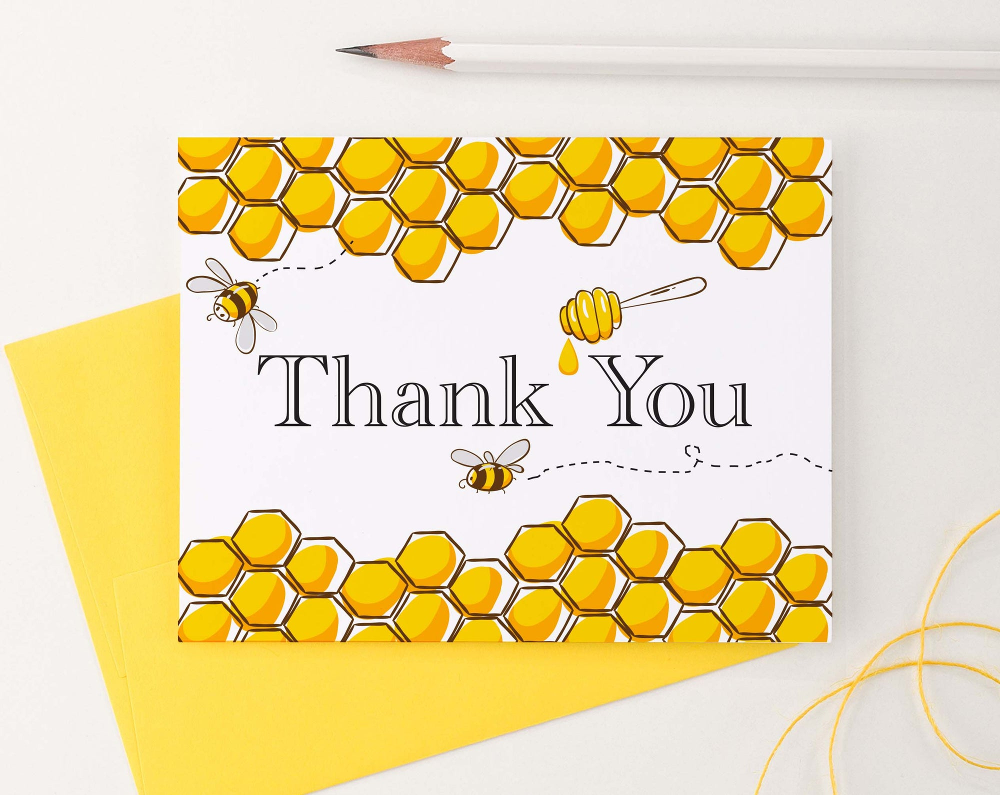 TY038 bumble bee honeycomb thank you notes for kids honey bee cute