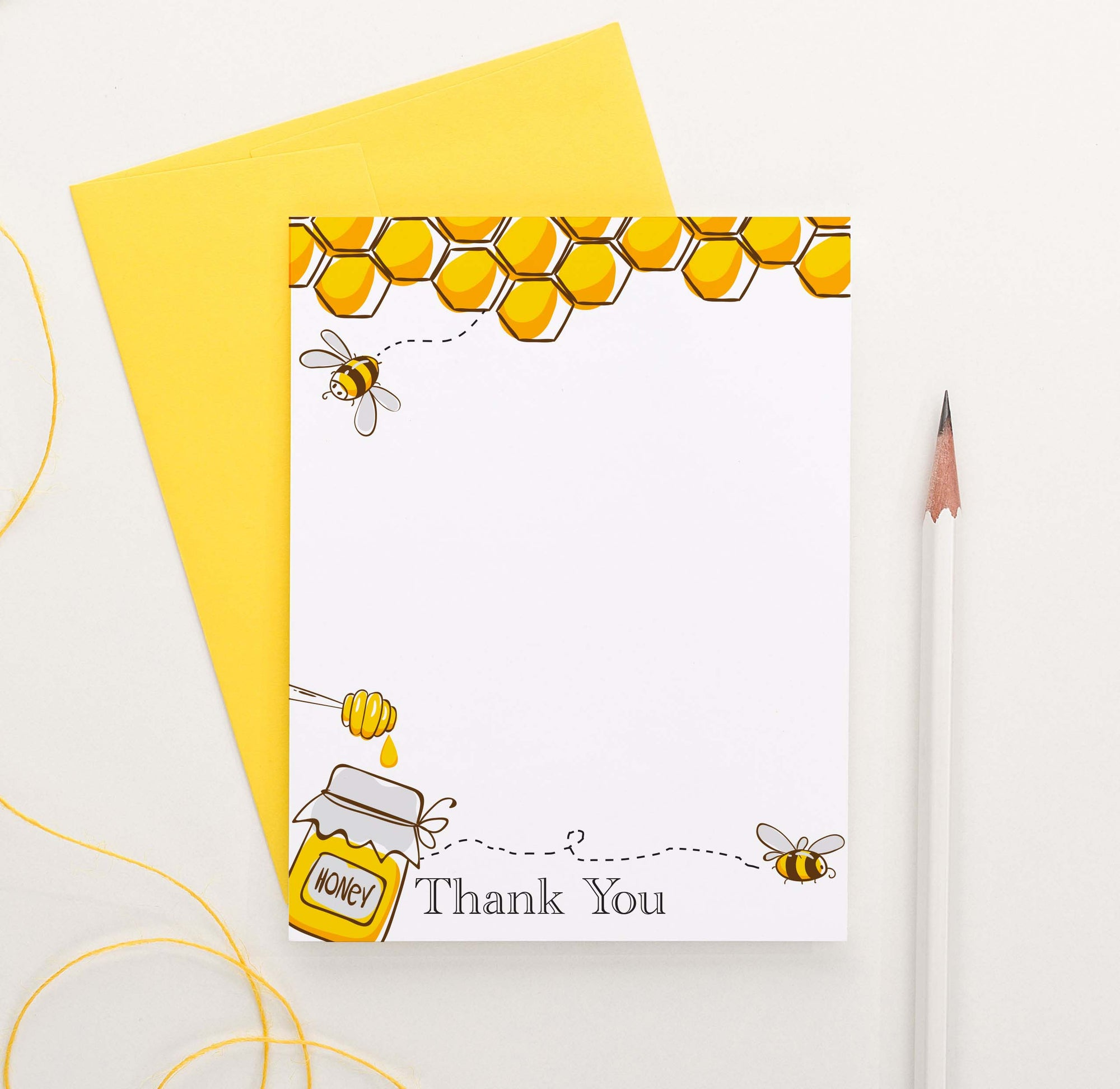 TY039 honey bee thank you cards for birthday honeycomb vertical flat kids thankyou