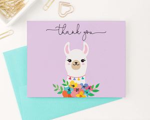 TY041 llama purple folded thank you notes for baby shower cute girls script thankyou