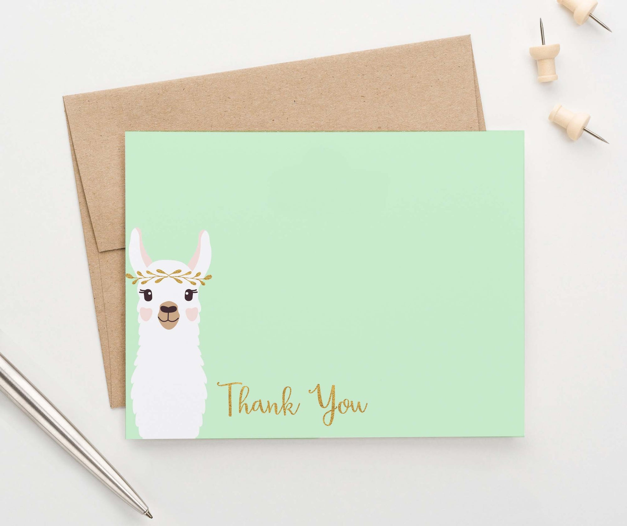 TY042 cute llama flat thank you notes for kids birthday gold script
