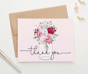 Rustic Floral Mason Jar Thank You Notes for Wedding
