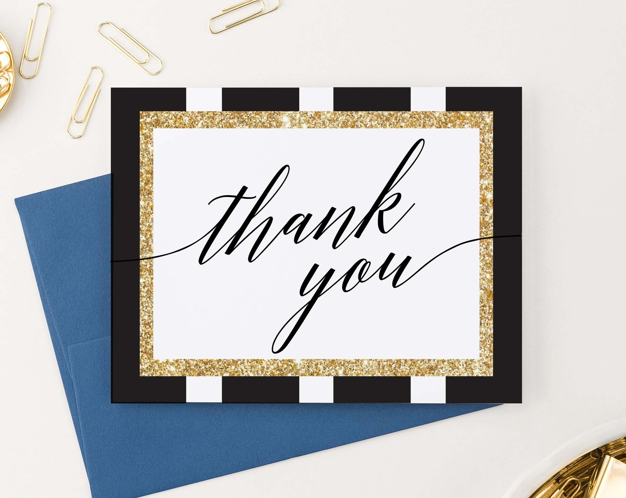 TY044 simple black and gold folded thank you notes elegant classic adults