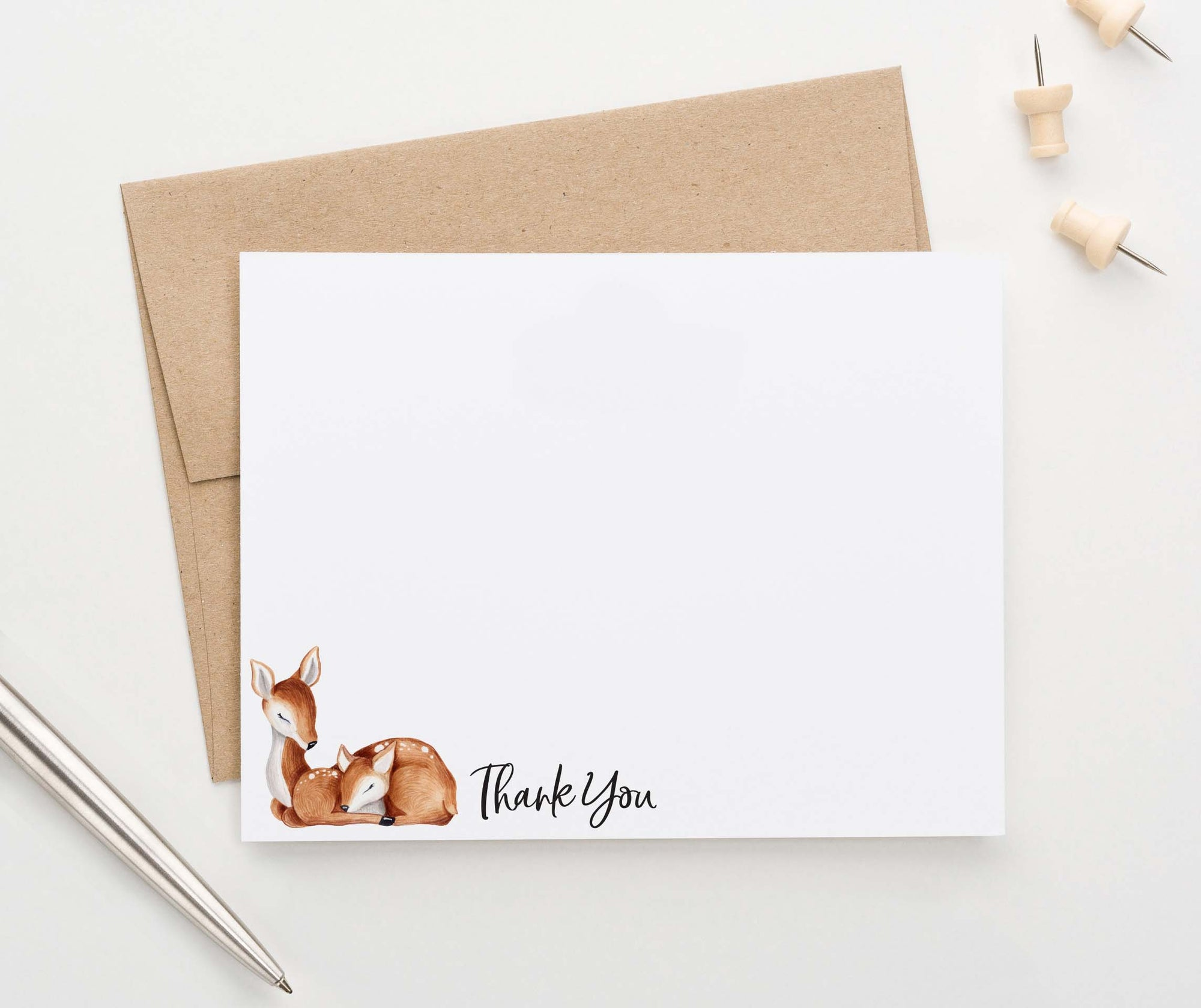 TY045 deer thank you cards for baby shower kids forest animal thankyou