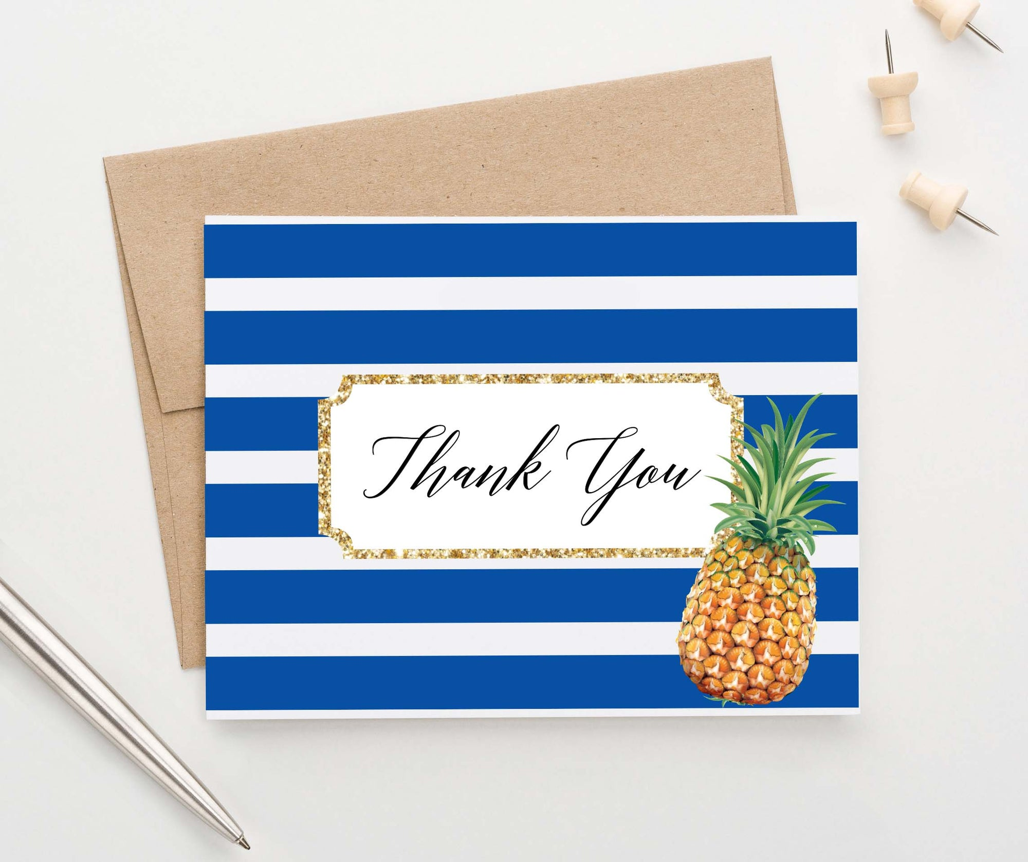 Chic Pineapple Folded Thank You Notes for Women