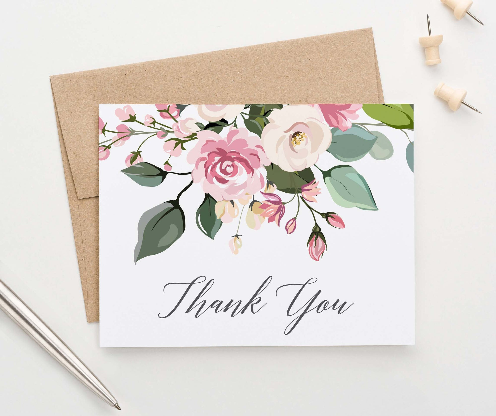 TY047 classic floral thank you cards for women folded script wedding