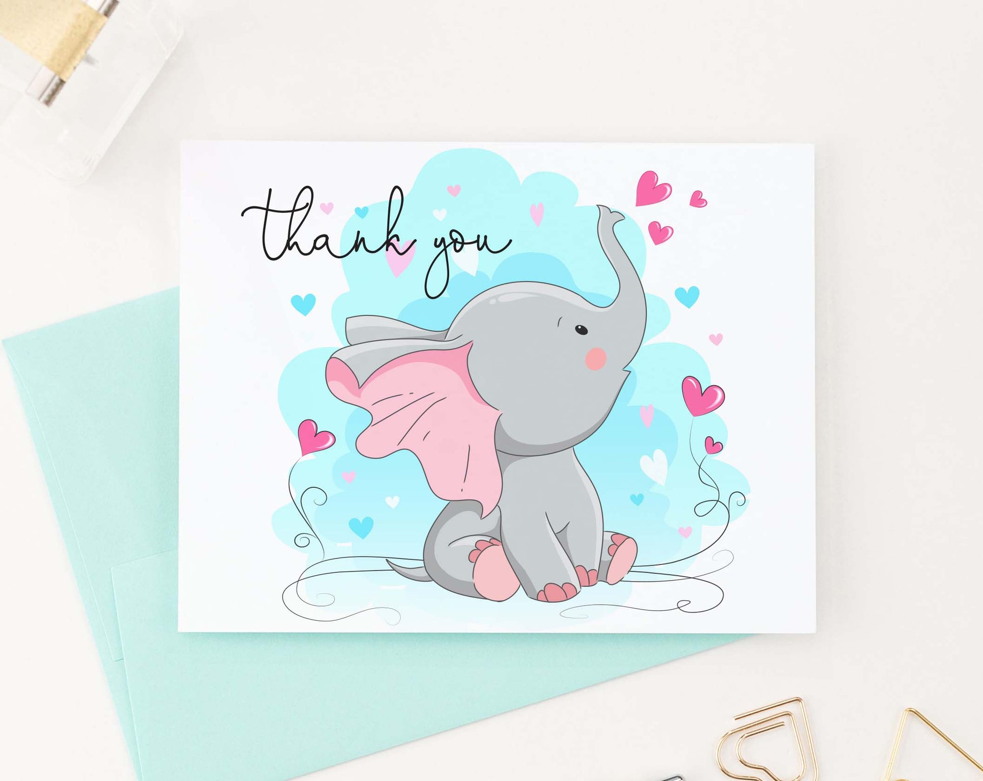 TY048 sweet elephant folded thank you cards for baby shower kids hearts cute