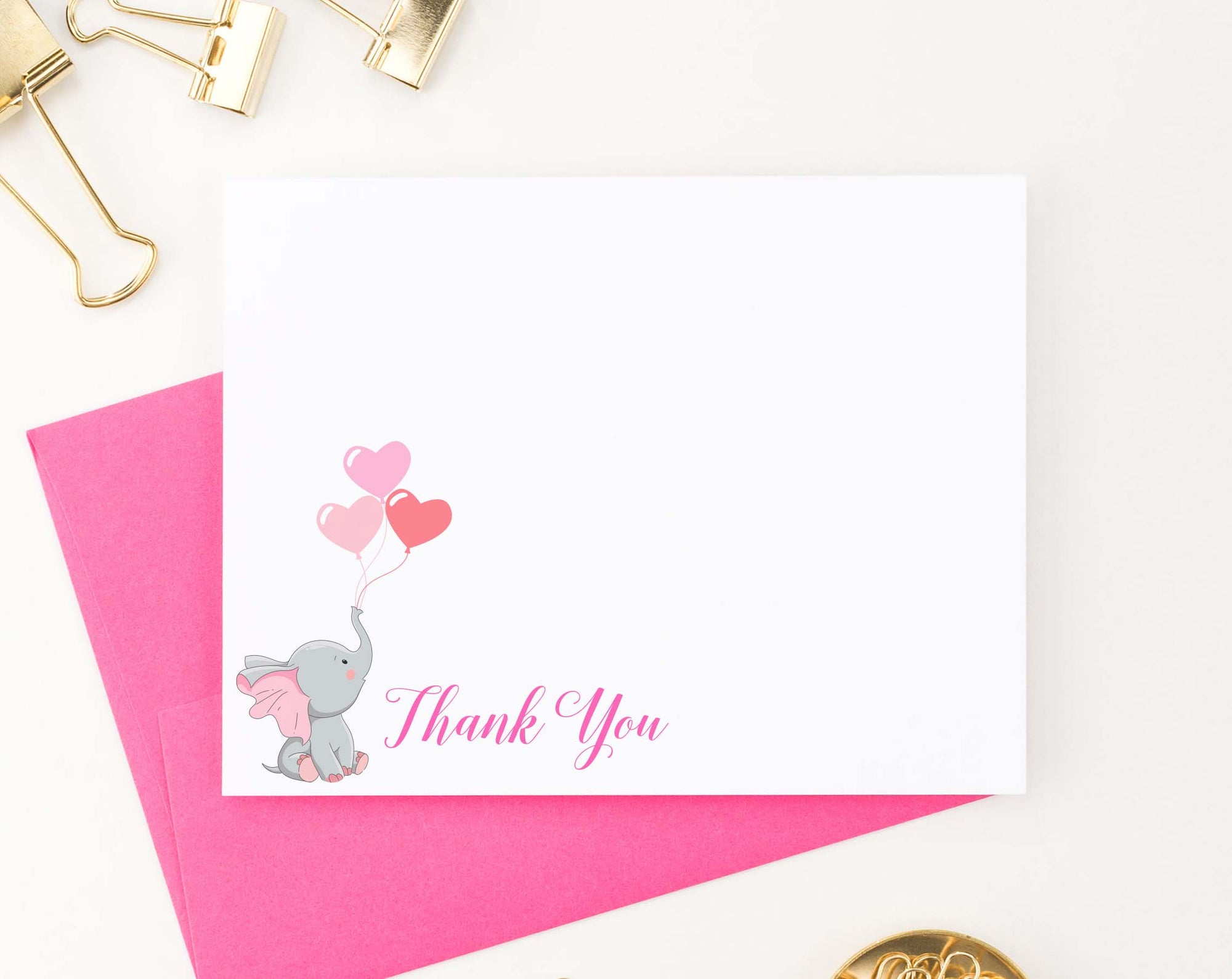 TY049 simple pink elephant thank you notes balloons cute girls