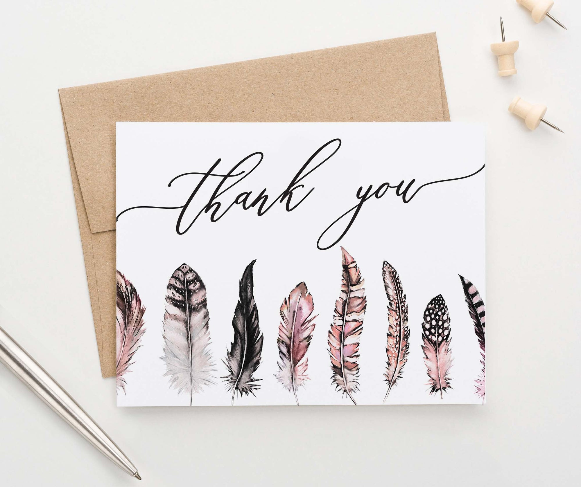 TY050 bohemian pink feather folded thank you notes women feathers