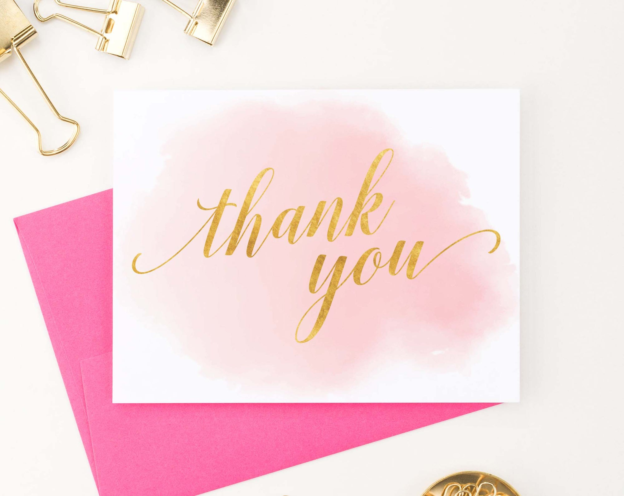 TY052 pink watercolor gold thank you notes folded women simple
