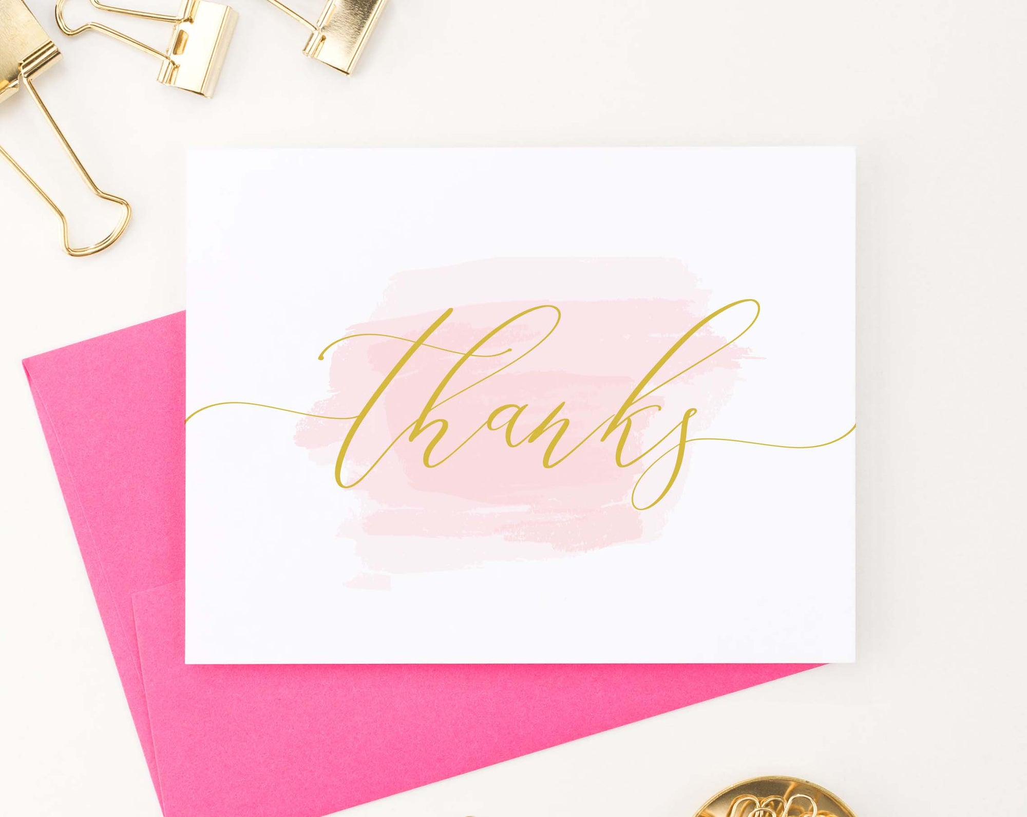 TY053 elegant pink watercolor thank you cards script thanks folded