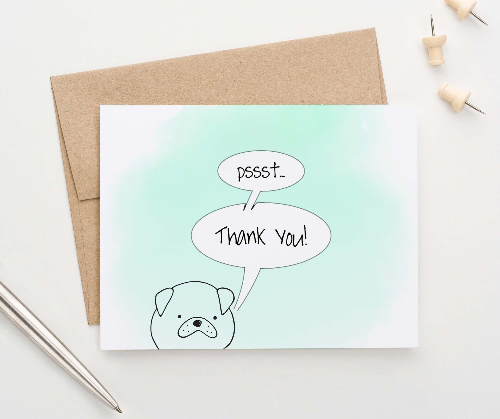 Simple Dog Watercolor Folded Thank You Notes
