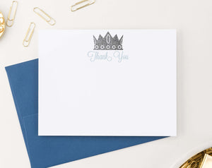 TY056 prince crown thank you notes for baby shower boys silver royal