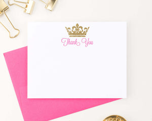 TY057 princess gold glitter crown thank you cards tiara royal queen