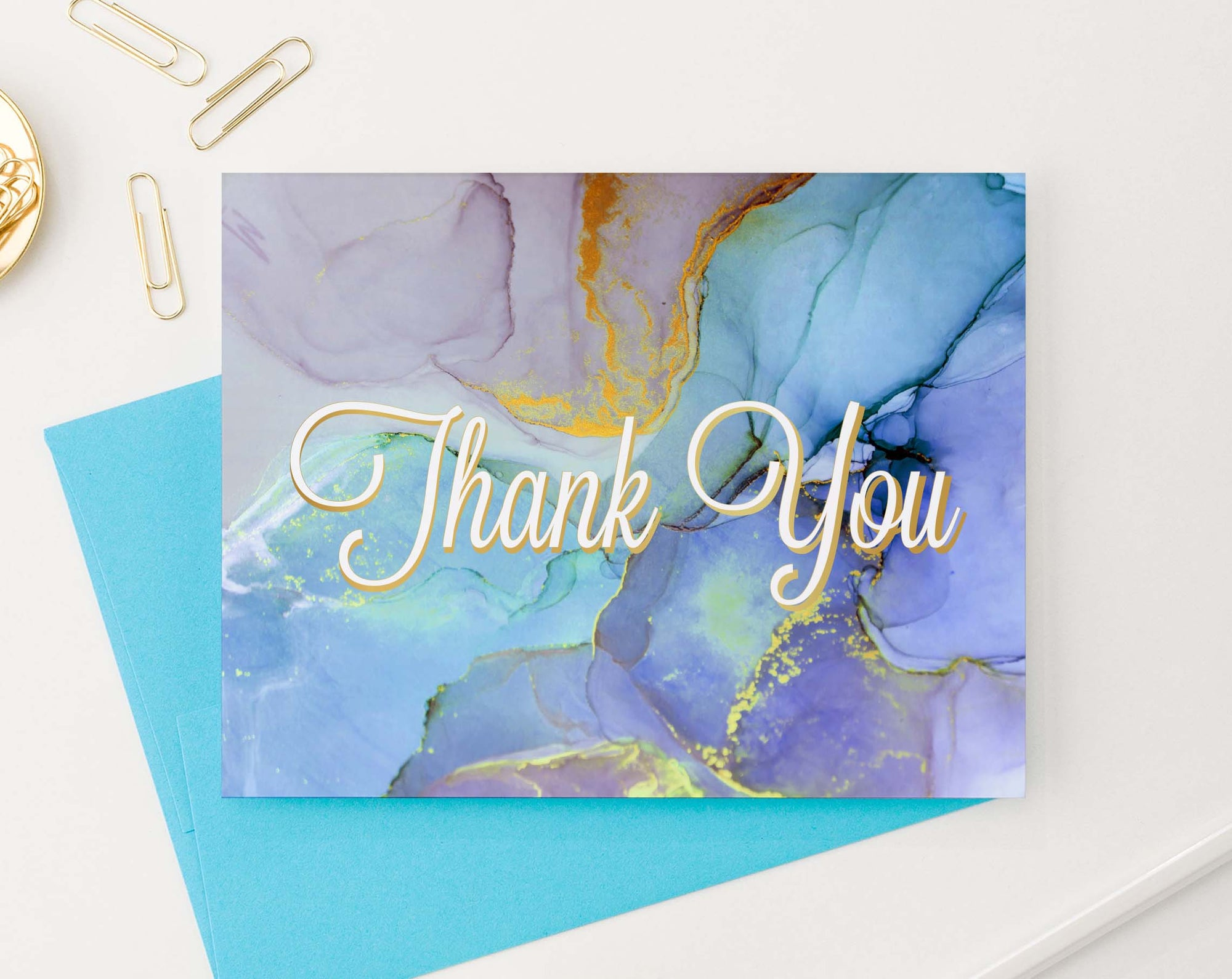 Colorful Watercolor Marble Folded Thank You Notes