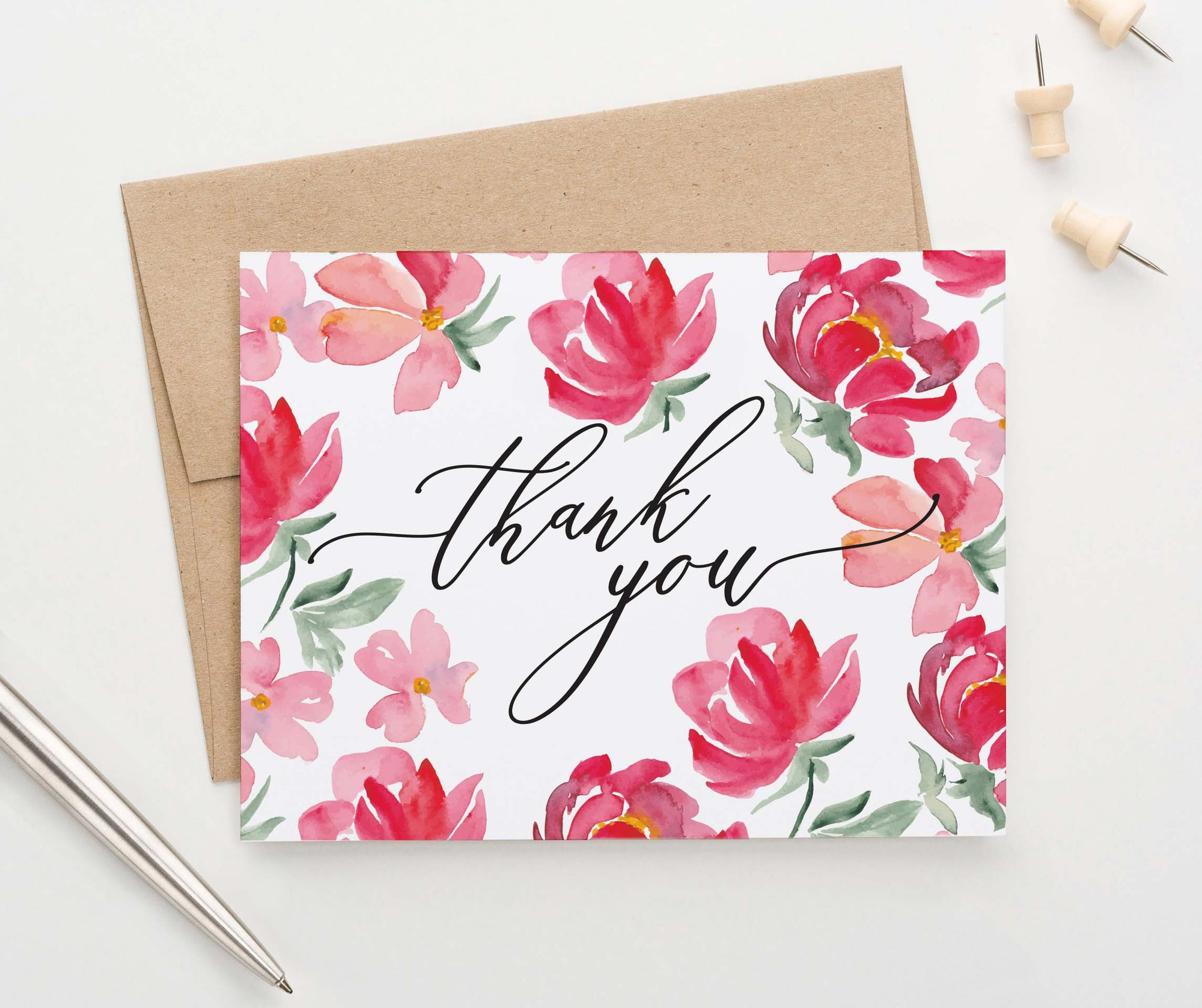 TY059 red floral folded thank you notes for women flowers script
