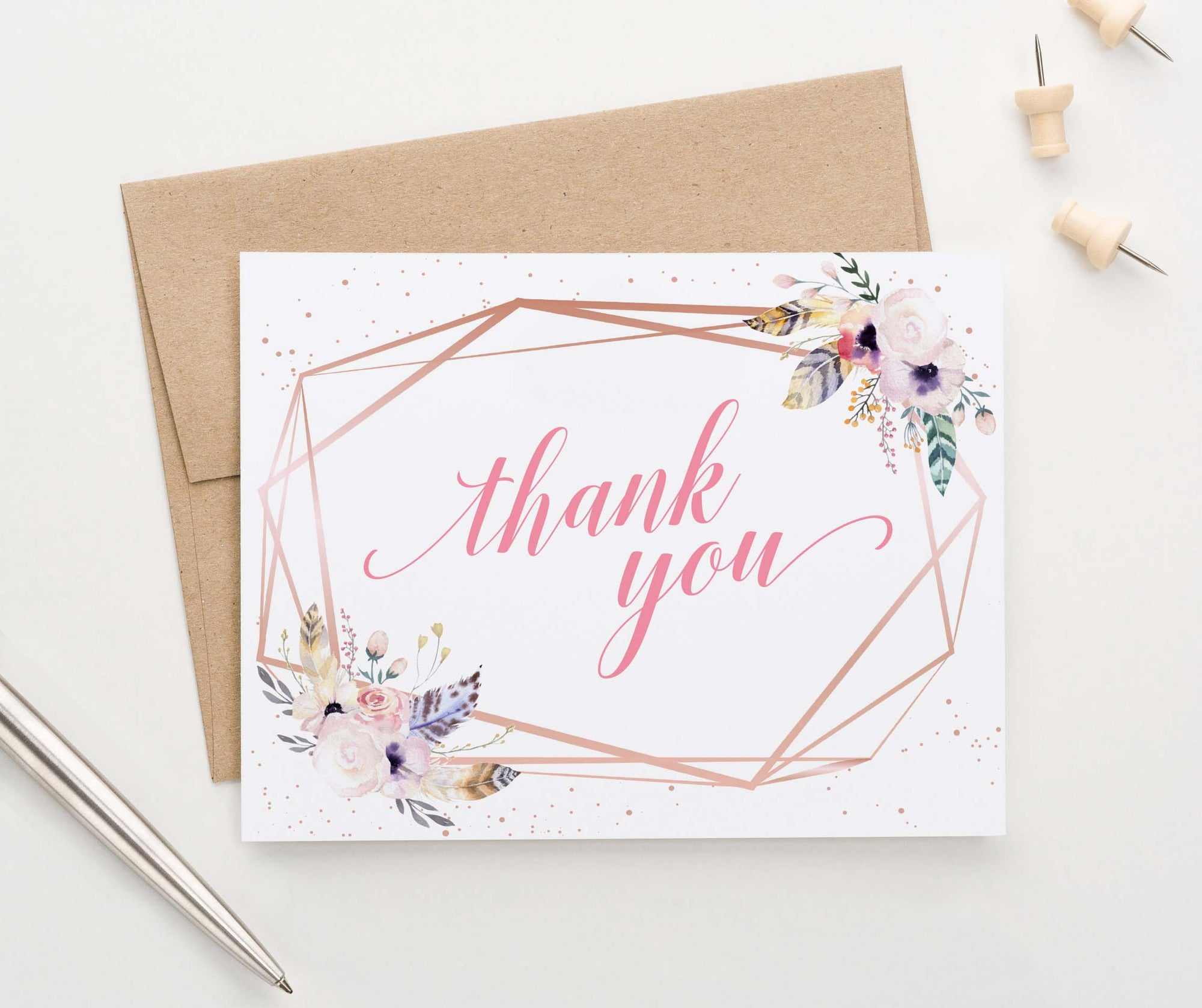 TY061 rose gold bohemian floral thank you cards geometric pink folded