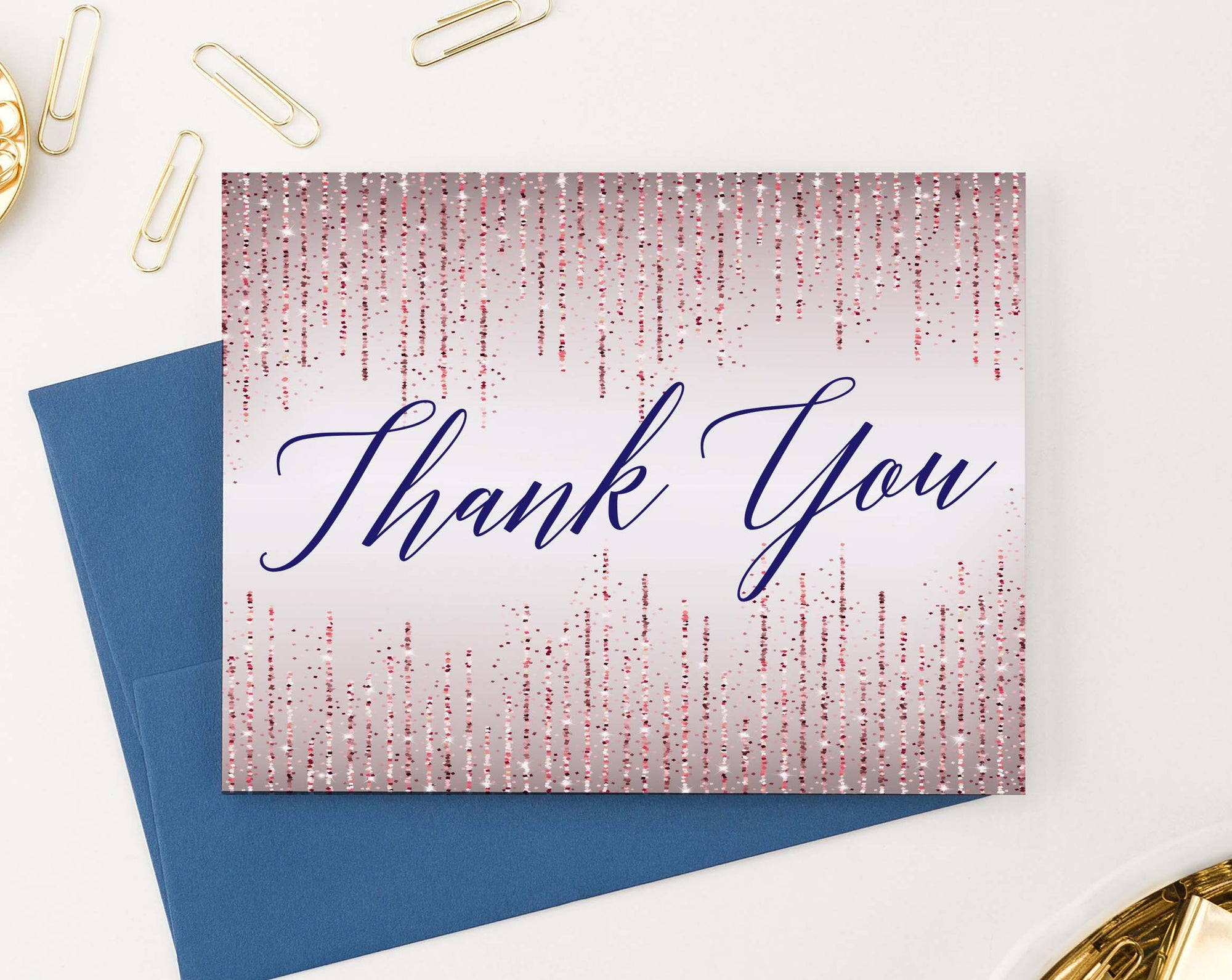 TY062 rose gold glitter thank you notes for wedding navy script women