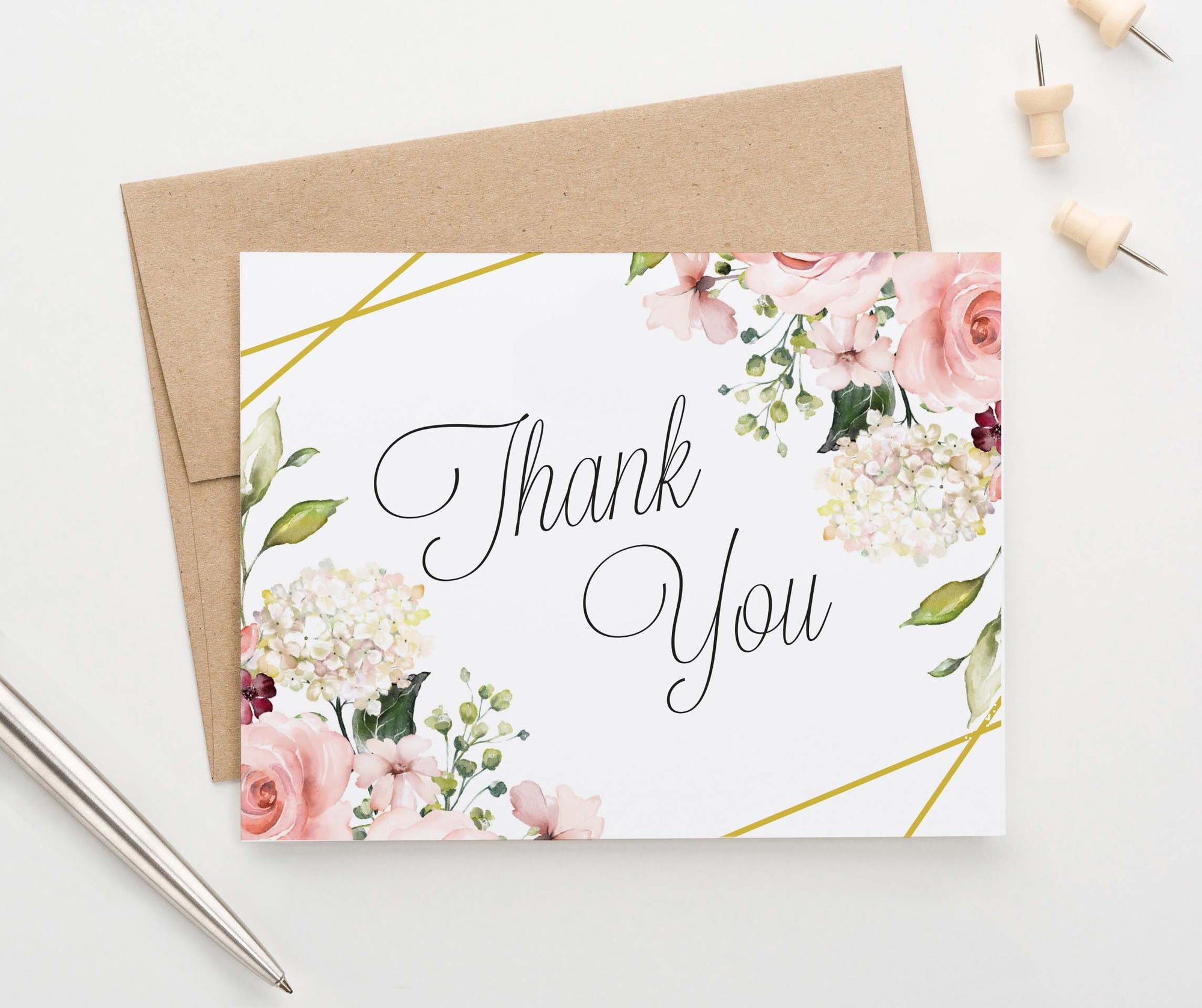 TY063 elegant floral corners folded thank you cards wedding gold
