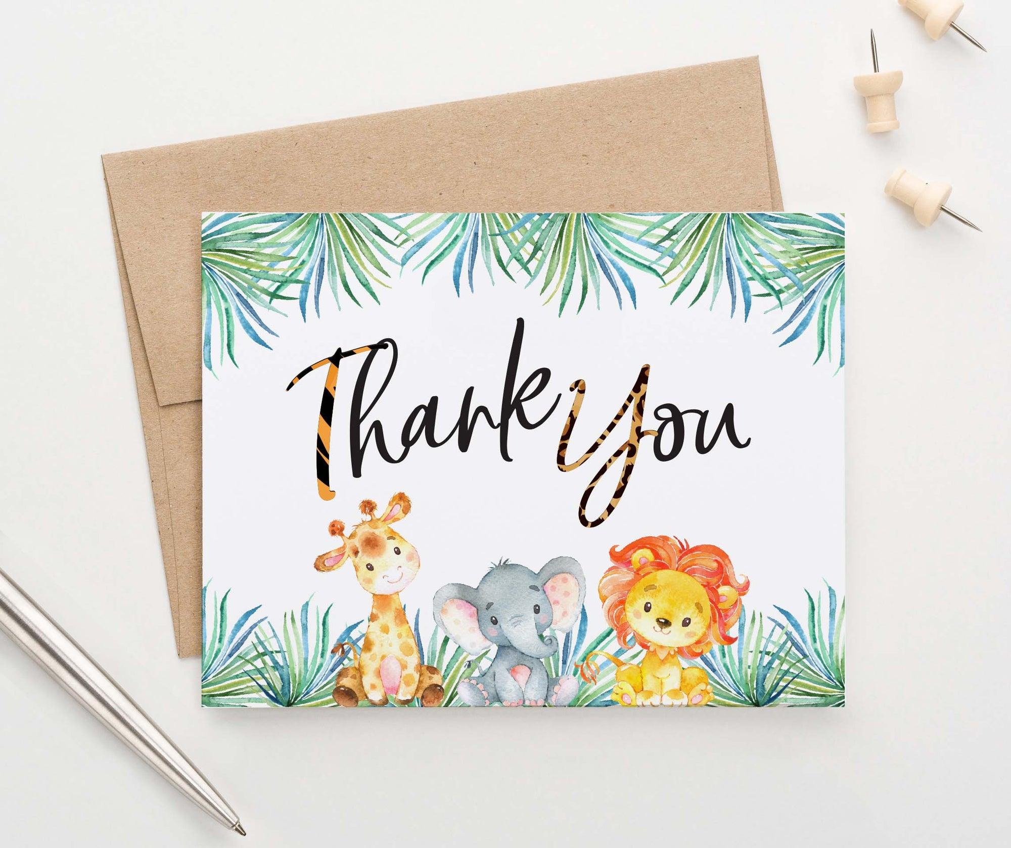 TY064 safari animals folded thank you notes for baby shower kids lion giraffe elephant zoo